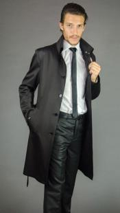 Mens Dress Coat Black Duster Over Coat