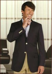 Wool Blazer With Brass Buttons Side Vents Black