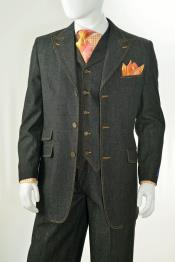 3 Piece Vested Peak Lapel Denim Suit Black