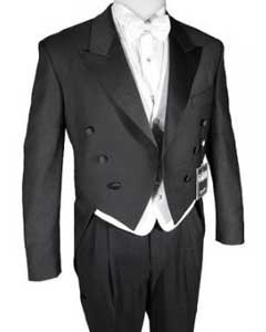 Super 150s Black Peak Tailcoat Tuxedo Jacket with the tail suit