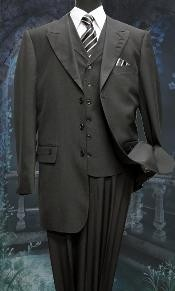 3 Piece Solid Fashion Suit With A Vest Black Peak  Lapel Three buttons Style