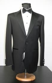 Reg:$995 Alberto Nardoni Brand Peak Lapel Tuxedo Black Tuxedo Wool Fabric Super