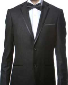 Fitted Skinny Tapered Mens Trimmed Peak Lapel Black