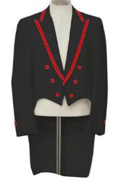 3-Piece Black Tailcoat Tuxedo With Red Trim Tuxedo Jacket with the tail suit
