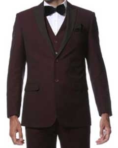 Fitted Skinny Tapered Mens Trimmed Peak Lapel Burgundy ~ Wine ~