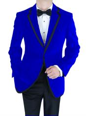 Velour Blazer Formal Tuxedo Jacket Sport Coat Two Tone Trimming Notch Collar Dark Blue