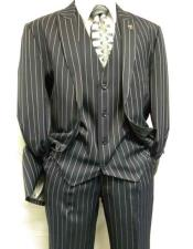Gangster Bold Pinstripe ~ Stripe Mens Stripe Mars Dark Blue Fashion Vested Suit Pleated Pants