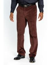Mens Stylish Flat Front Corduroy Dark Brown Formal Dressy Pant