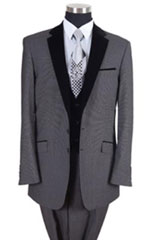 Tones Tuxedo Black Lapeled Vested Formal Dinner Suit Gray Fashion Tuxedo For Men - Three Piece Suit