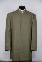 Mens Mandarin Collar Brass Dark Green Mandarin Banded No Collar Suit