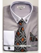 Solid Pattern French Cuff 100% Cotton Fashion Dark Grey Shirt with