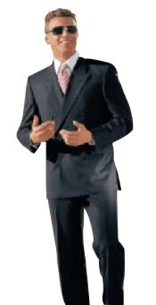 Classic fit Double Breasted Suit 100%rayon High Quality Wool Zippered fly Charcoal
