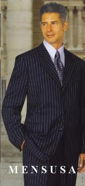 Bold Chalk Pronounce Dark Navy blue Suit For Men & White Pinstripe