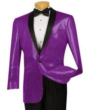 Black Lapel  Blazer ~ Sport Coat Tuxedo Dark Purple Dinner Jacket Sequin ~ Shiny Paisley Blazer