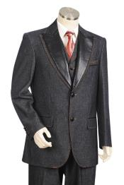Faux Leather Lapel Denim Black Peak Lapel Zoot Suit