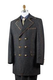 Stylish Trench Collar Brass Accent Denim Black Zoot Suit