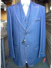 Mens Denim Blue Vested Suit 2