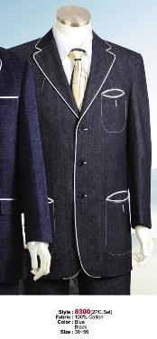 Cotton Fabric Suit Style comes in Black or Blue