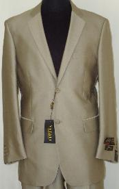 Designer 2-Button Shiny Beige Sharkskin Suit