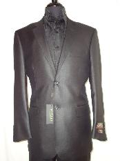 2-Button Shiny Black Sharkskin