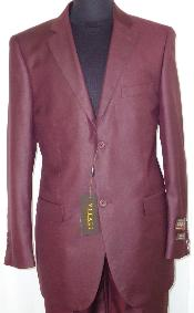 Designer 2-Button Shiny Burgundy ~ Maroon ~ Wine Color Sharkskin Suit
