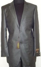 Designer 2-Button Shiny Charcoal Gray Sharkskin Suit