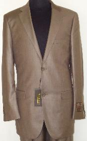 Designer 2-Button Shiny Cocoa Brown Sharkskin Suit