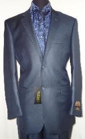 Mens Designer 2-Button Shiny Dark Navy Blue Suit For Men Sharkskin Suit