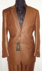 Mens Designer 2-Button Shiny Rust ~ Peach Sharkskin Suit