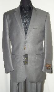 Designer 2-Button Shiny Silver Gray Sharkskin Suit