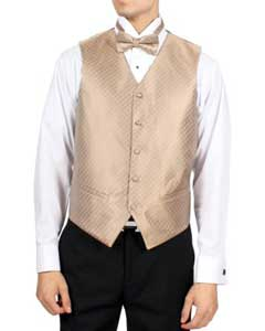 Mens Champagne Diamond Pattern 4-Piece Vest Set Also available in Big and Tall Sizes