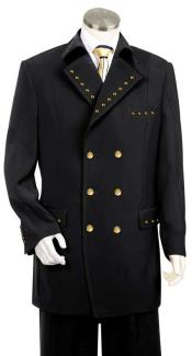 Metal Double Breasted Fashion Suit Eight Button Black