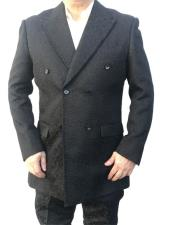Mens Black Velvet Paisley Button Closure blazer
