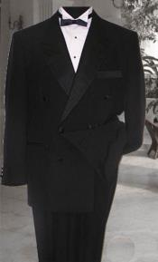 1920s Style Fashion Double Breasted Black Tuxedo Super 150s Wool Fabric