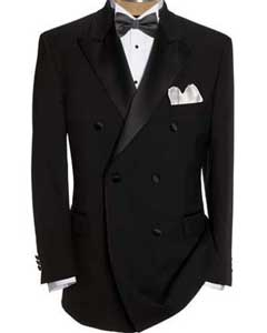 Black Double Breasted Suits Tuxedo Jacket + Pants