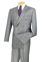 Breasted Window Pane Glen Plaid patterned Man Suit / Sport Jacket Blazer Patterned Fabric Gray