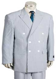 seersucker Suit in Soft Poly Rayon Blue ~ Mens Unique Double Breasted Stripe ~ Dark Navy Pleated