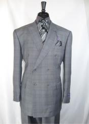 Mens Vinci Peak Lapel Double Breasted Suit High back Vented Jacket with