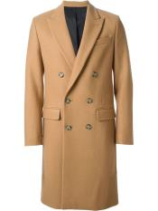 Mens Camel~Khaki 44Inch long Double Breasted Overcoat Winter Mens Topcoat Sale