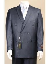 Navy Button Closure Double Breasted Suit - Dark Blue Suit Color