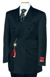 Breasted Suit Jacket + Pleated Pants Super 140s 100% Wool Dark