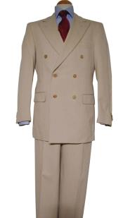 Tan ~ Beige Pure Virgin Wool Feel Rayon Viscose Double Breasted Suit