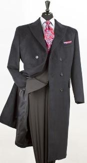 Dress Coat 44 Inch Double Breasted Winter Peacoat Long Wool Blend