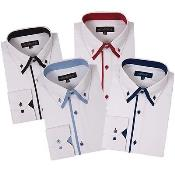 Button Stylish Dress Shirt Double Collar Style Multi-Color
