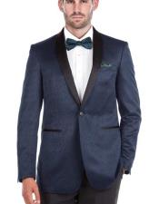 Shawl Collar Blue Textured Double Vent Tuxedo Slim Fit Blazer