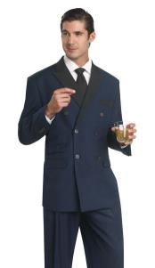 breasted Tuxedo Dinner Jacket Blazer Suit With Black Trimmed Lapel + Pants Midnight Blue