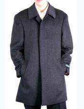 Brand Mens Dress Coat Classic Fit Charcoal Grey Wool Blend 3/4