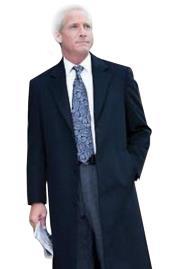 Mens Dress Coat 38 inch Three-button navy blue wool-Three quarter (36 Overcoat)