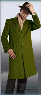 Mens Dress Coat Olive Green Overcoat 45  3 Button Style Wool