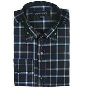 Sleeve Plaids And Checks Pattern Black Mens Dress Shirt